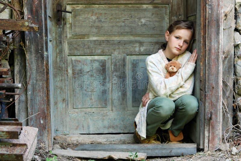 女孩哀伤的一点 免版税图库摄影