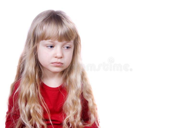 女孩哀伤的一点 免版税库存照片