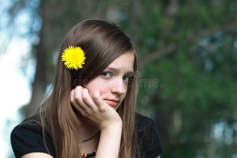 女孩哀伤青少年 库存照片