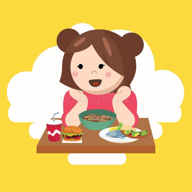 女孩哄骗儿童逗人喜爱的愉快的吃食物 向量例证