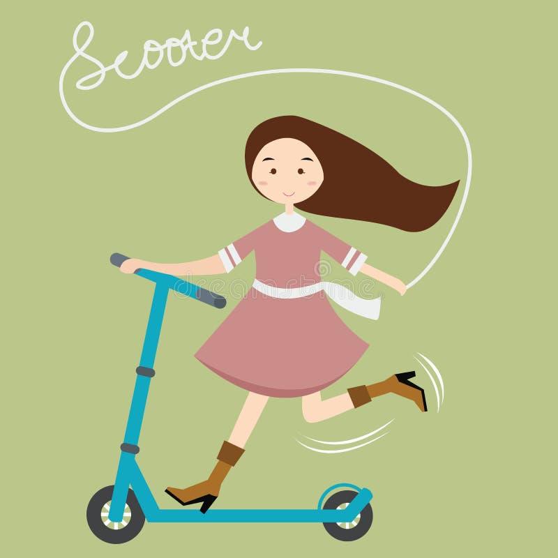 女孩哄骗女性有乐趣骑马滑行车愉快的儿童活跃美丽 库存例证