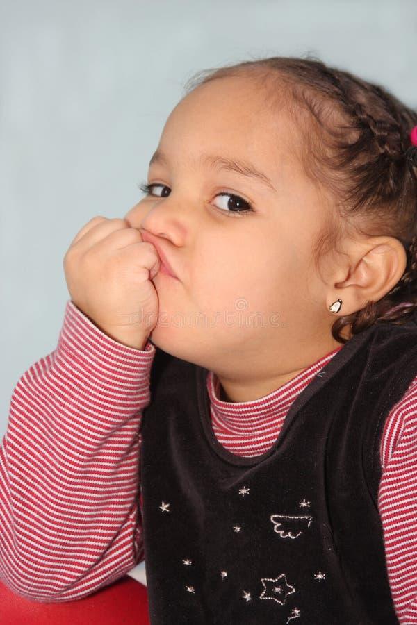 女孩噘嘴 库存图片