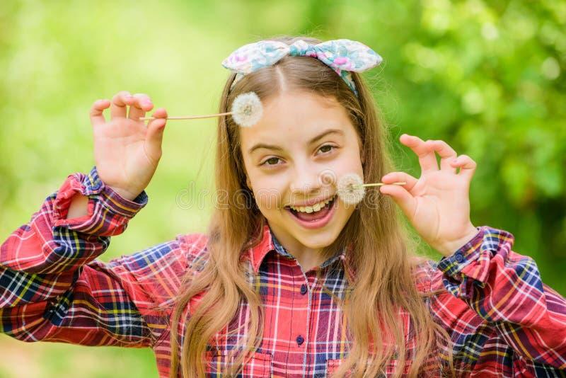 女孩国家土气样式方格的衬衣自然背景 庆祝夏天回归  充分的蒲公英美丽和 免版税库存照片