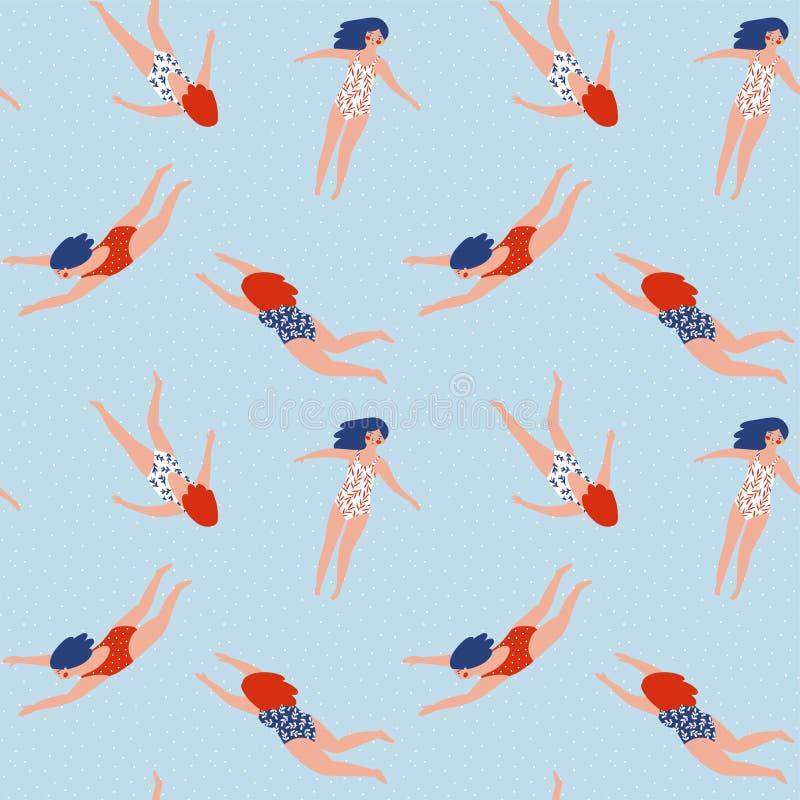 女孩图不同的国籍泳装的  游泳汇集 模式无缝的向量 皇族释放例证