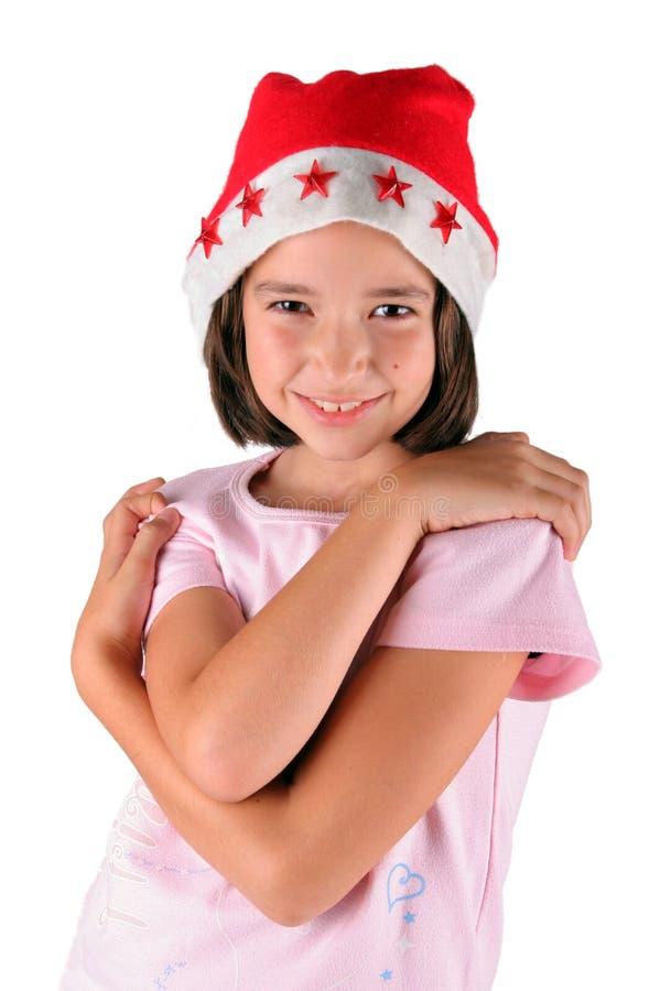 女孩圣诞老人年轻人 免版税图库摄影