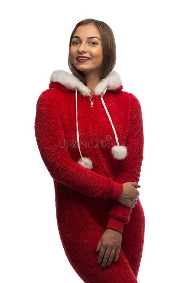 女孩圣诞老人 工作室 库存照片