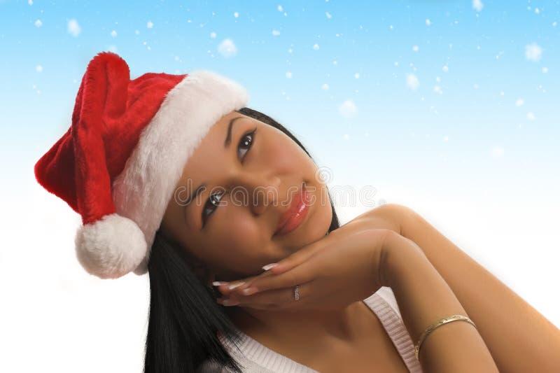 女孩圣诞老人 免版税库存照片