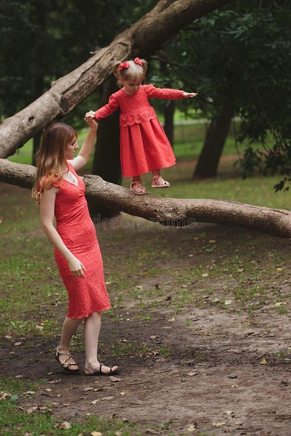 女孩在与妈妈的树走 库存照片