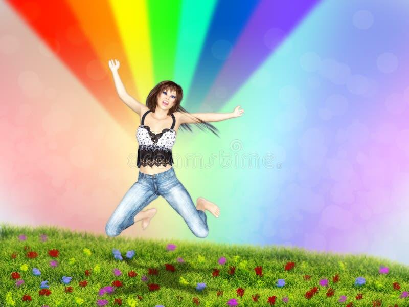 Download 女孩在与彩虹的一片草地跳 库存例证. 插画 包括有 天空, 异乎寻常, 白天, 兴奋, 剪影, 照亮, 性感 - 30331053
