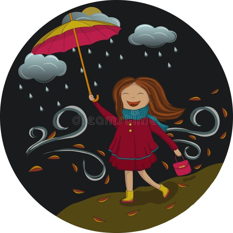 女孩在伞下在晚上 免版税图库摄影