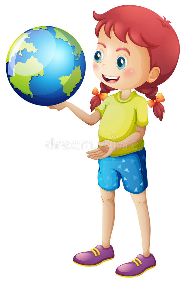 女孩在她的手上的拿着地球 向量例证