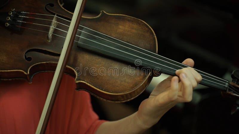 女孩在小提琴的串的` s手 女孩在指板小提琴的` s手 免版税库存照片