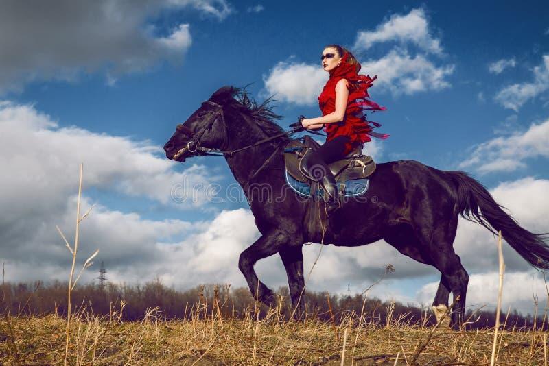 女孩在开发在天空的领域的红色礼服的一匹马乘坐 图库摄影
