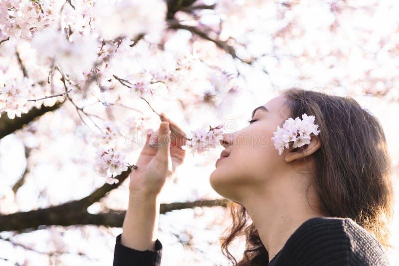 女孩在开花分支的微笑和嗅花 库存照片