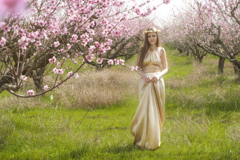 女孩在开花的庭院里 图库摄影