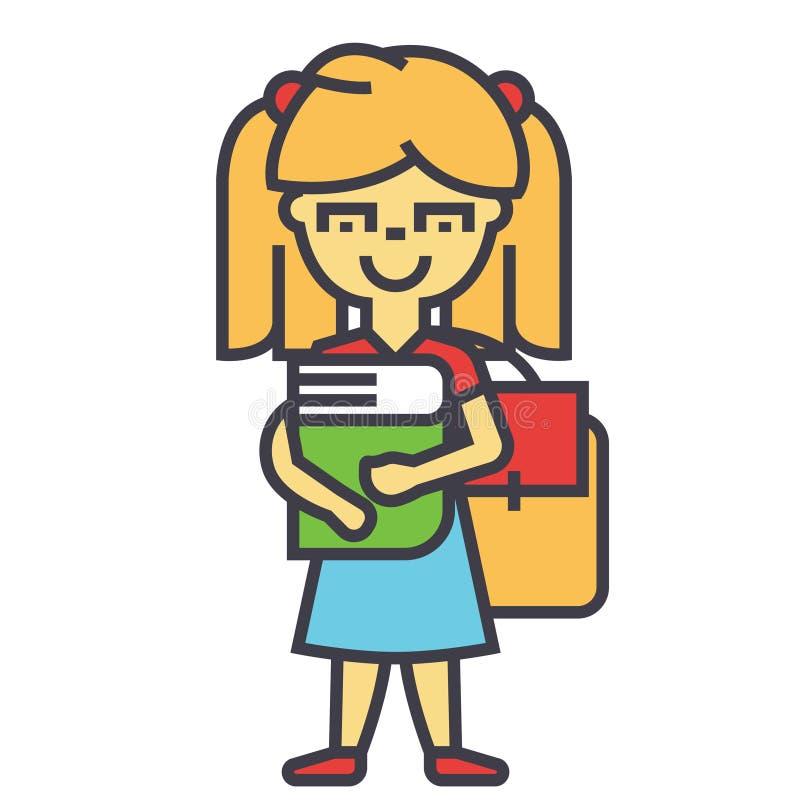 女孩在有书和背包的,女学生,研究概念主要或小学 皇族释放例证