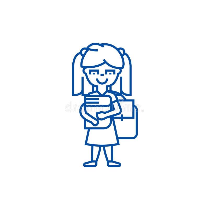 女孩在有书和背包线的象概念学校 女孩在有书和背包平的传染媒介标志的,标志学校 皇族释放例证