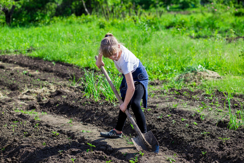 女孩在有铁锹的庭院里 免版税库存图片