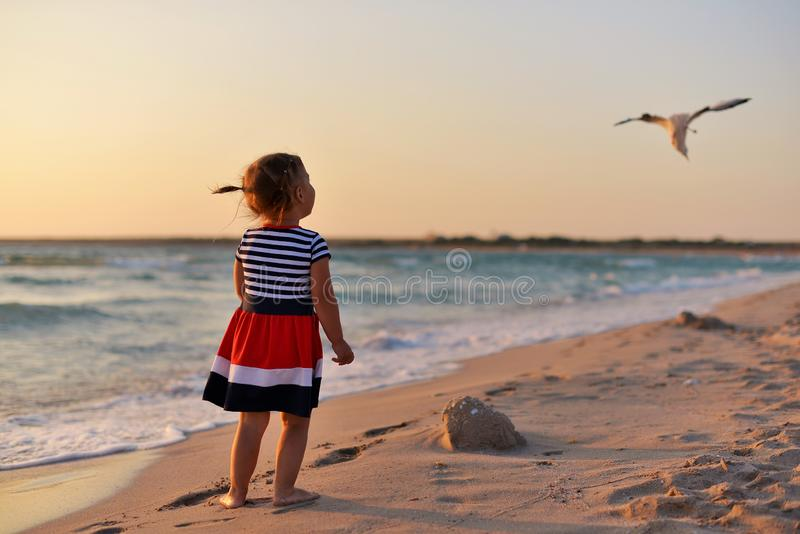 女孩在海滩的湿沙子和神色赤足站立在飞行的海鸥 免版税库存图片