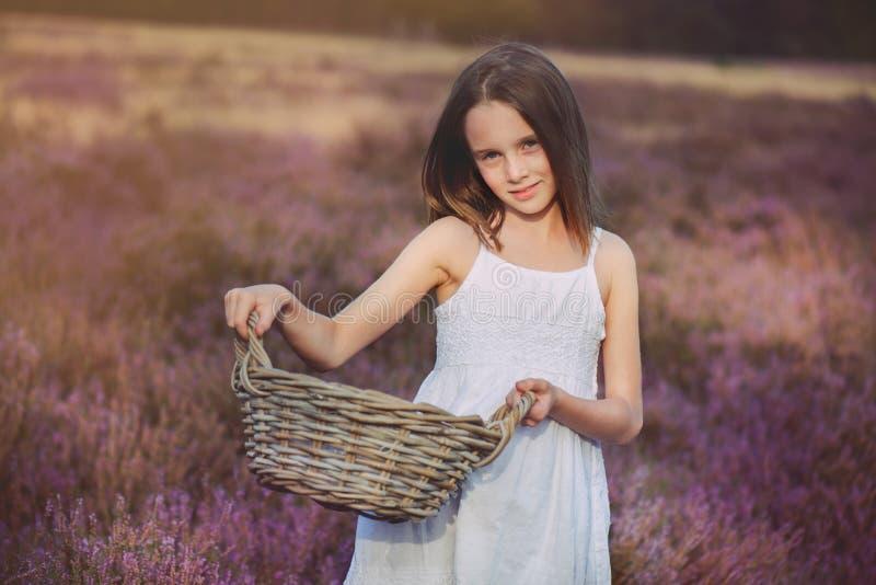 女孩在石南花草甸 库存图片