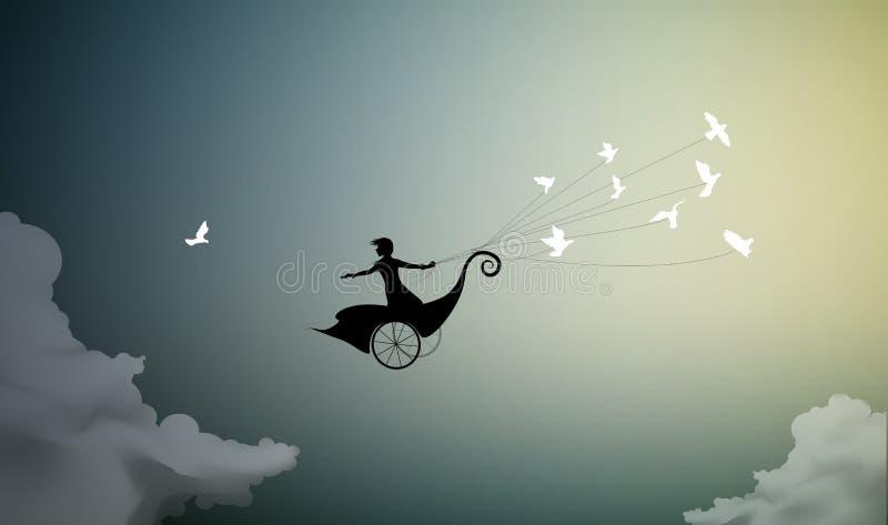 女孩在神仙的支架飞行并且拿着鸽子群,对太阳的飞行, 库存例证