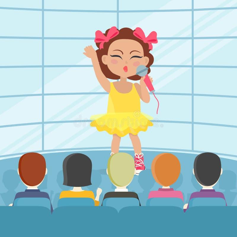 女孩在观众前面的唱歌歌曲 向量 皇族释放例证