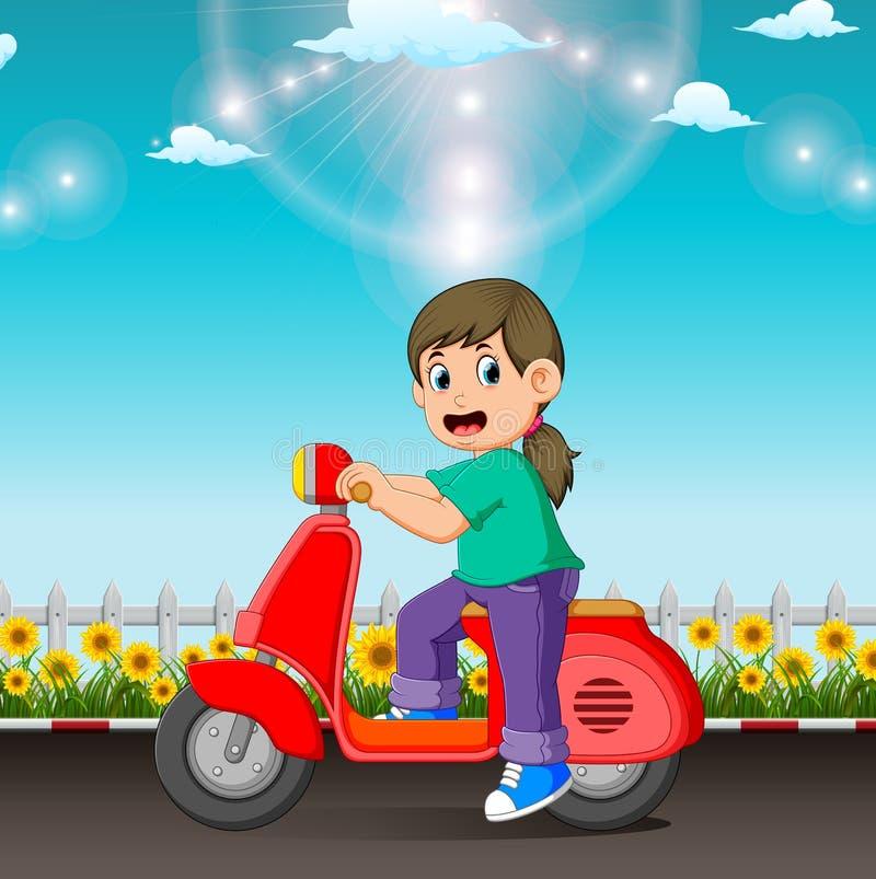 女孩在路乘坐红色滑行车在天 库存例证