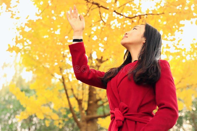 女孩在金黄秋天庭院里 库存照片
