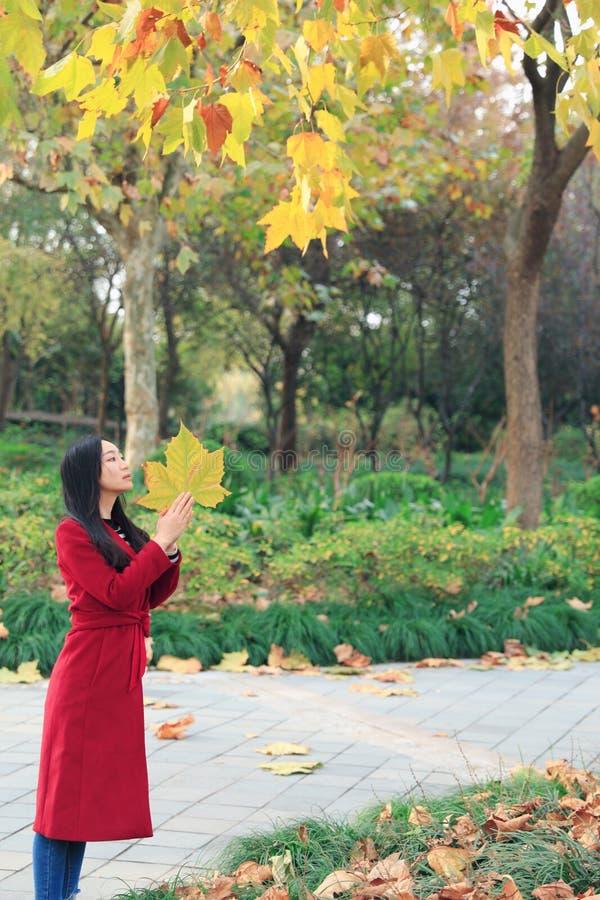 女孩在金黄秋天庭院里 免版税图库摄影