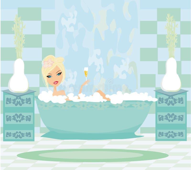 女孩在浴放松 皇族释放例证