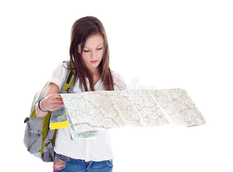 女孩地图判读 图库摄影