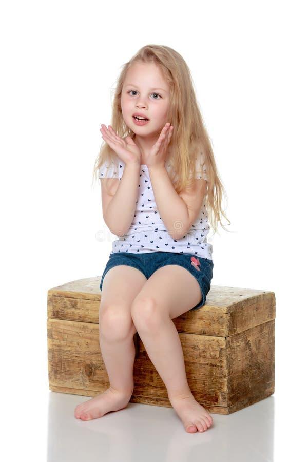 女孩坐一个木箱 库存图片