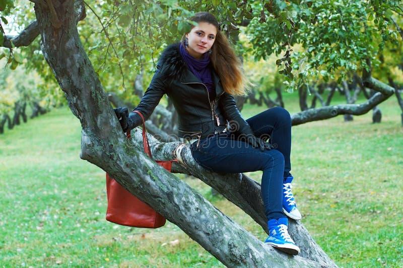女孩坐一棵树在公园 免版税库存照片