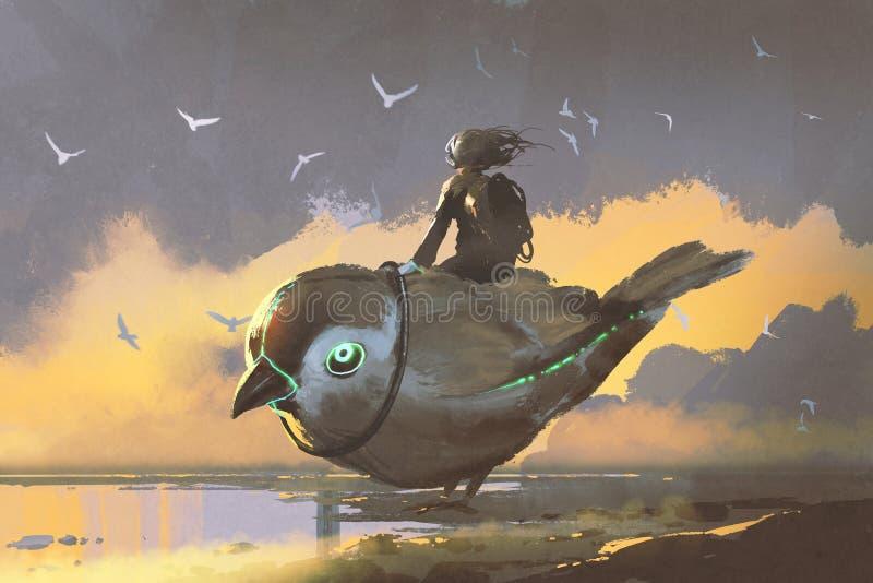 女孩坐巨型未来派鸟 库存例证