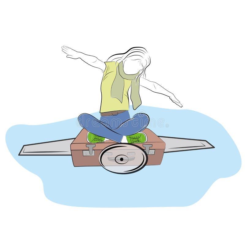女孩坐描述在飞机的手提箱一次飞行 旅行的概念 梦想 也corel凹道例证向量 库存例证