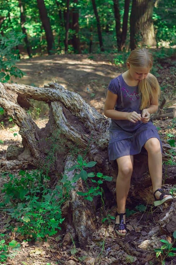 女孩坐树桩 免版税库存图片