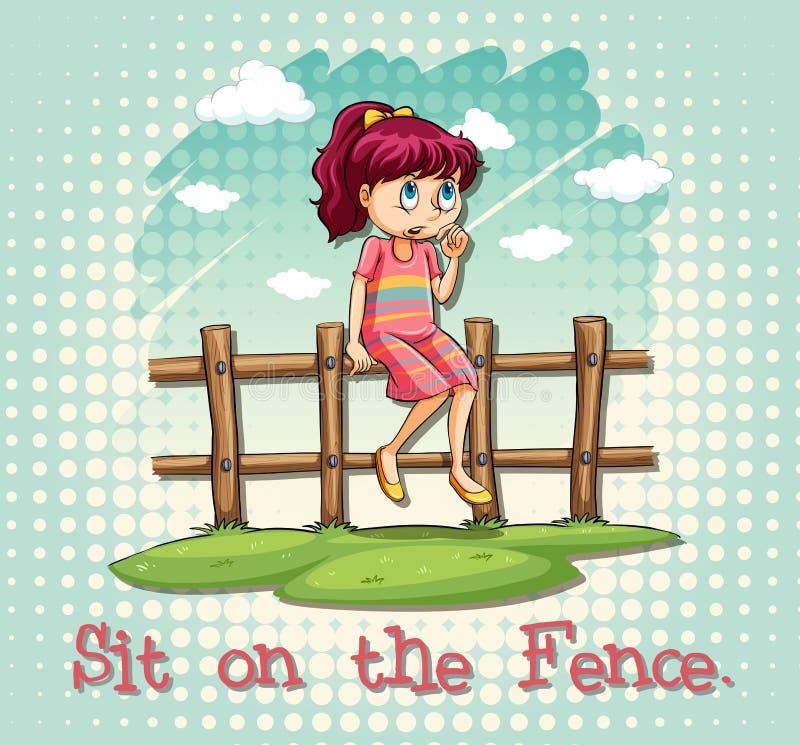 女孩坐篱芭 皇族释放例证