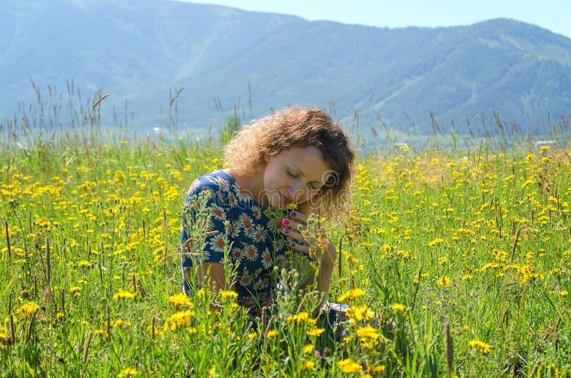 女孩坐晴朗的草甸 免版税图库摄影