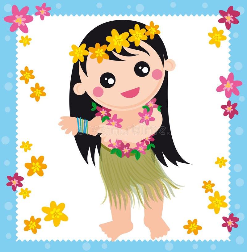 女孩夏威夷人 库存例证