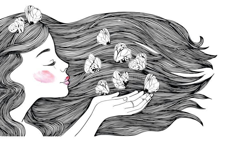 女孩外形画象 并且白色蝴蝶 黑色方式例证白色 向量例证