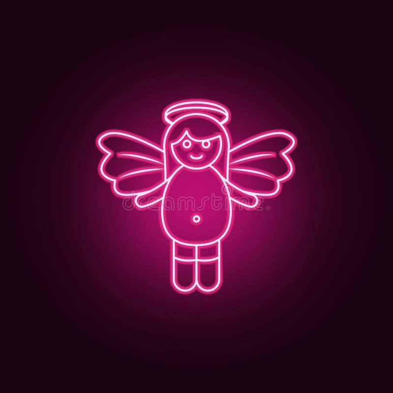 女孩天使霓虹象 天使和邪魔集合的元素 r 皇族释放例证