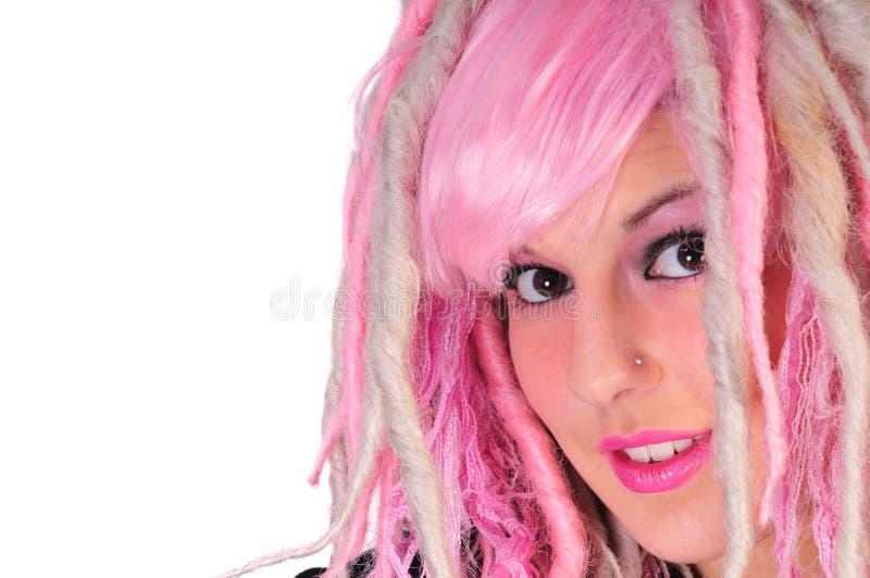 女孩头发粉红色废物 库存照片
