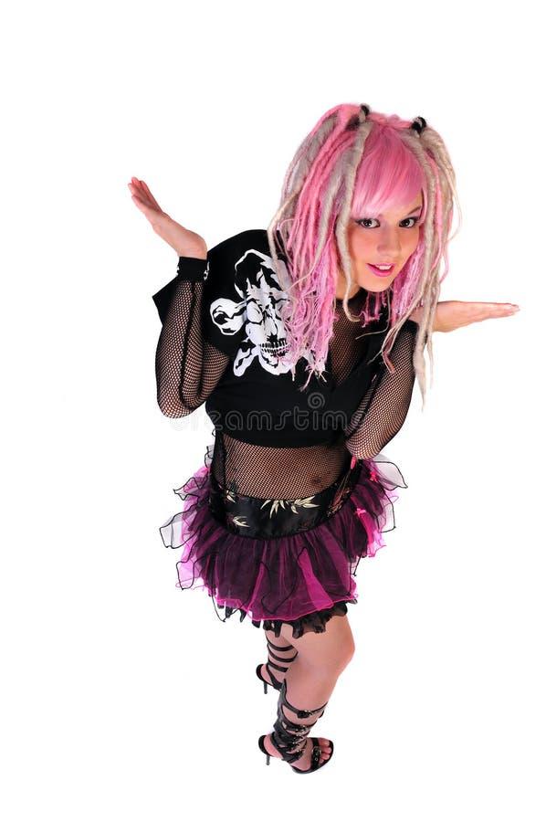 女孩头发粉红色废物 免版税库存图片