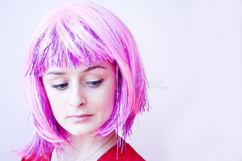 女孩头发粉红色 免版税库存照片