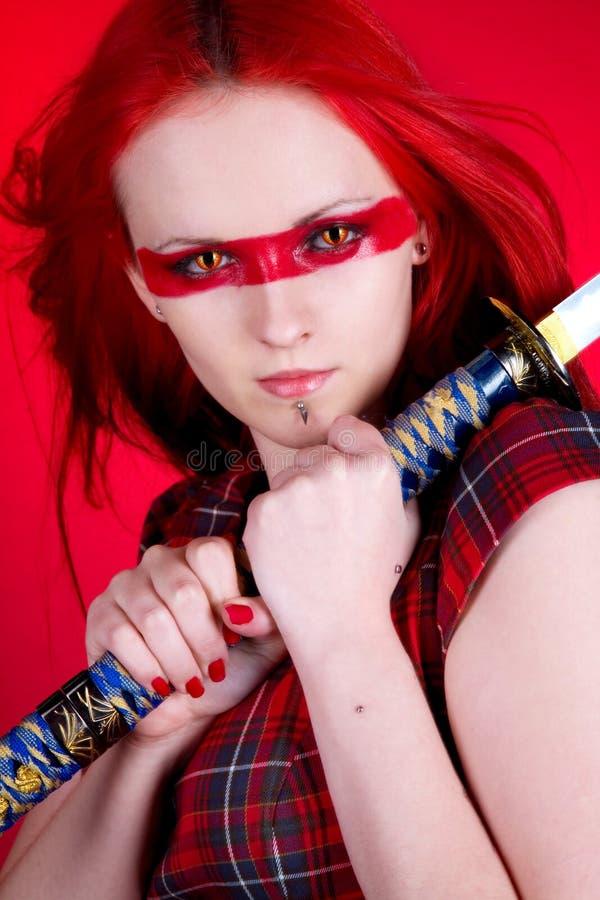 女孩头发红色 免版税库存图片
