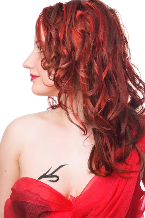 女孩头发红色 库存图片