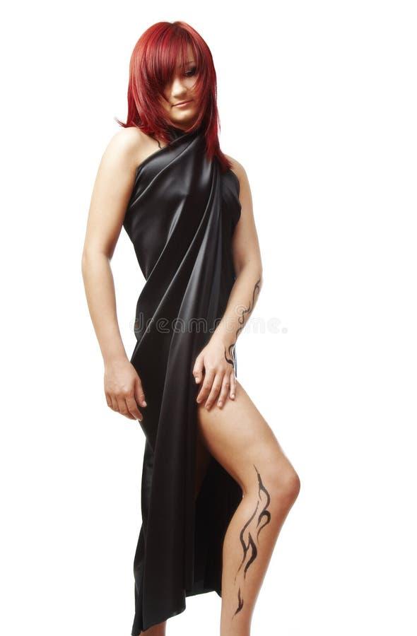 女孩头发红色 免版税图库摄影