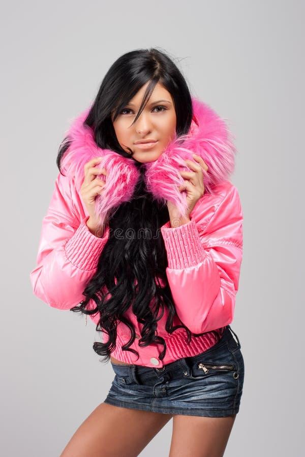 女孩夹克粉红色 免版税库存图片