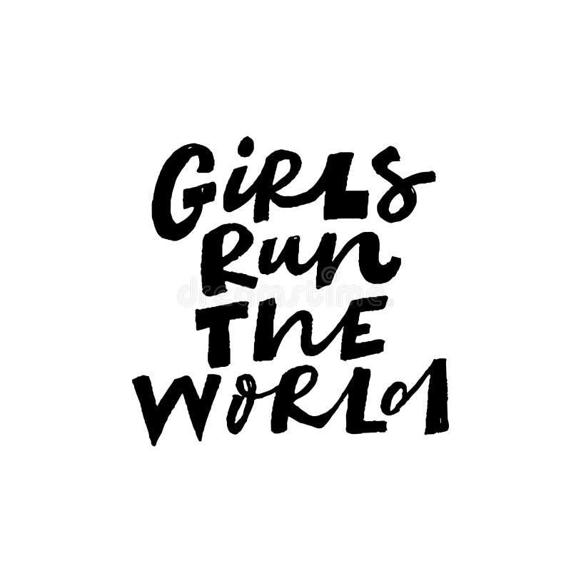 女孩奔跑世界手拉的传染媒介字法 向量例证