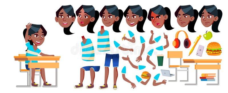 女孩女小学生孩子传染媒介 投反对票 美国黑人 高中孩子 动画创作集合 面孔情感,姿态 皇族释放例证